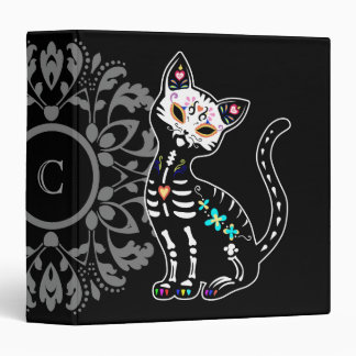 Girly Day of the Dead cute cat custom personalized Vinyl Binder