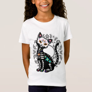 Girly Day of the Dead cute cat custom T-Shirt