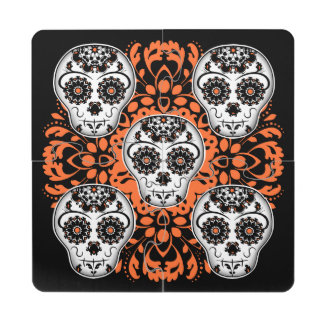 Girly Day of the Dead sugar skull black and orange Puzzle Coaster