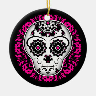Girly day of the dead sugar skull ceramic ornament