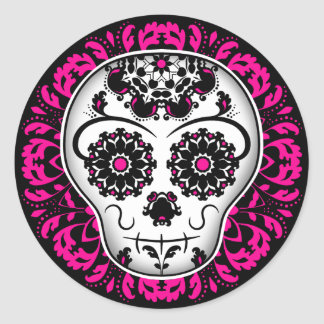 Girly day of the dead sugar skull classic round sticker