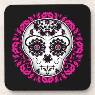 Girly day of the dead sugar skull coaster