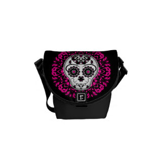 Girly day of the dead sugar skull courier bag
