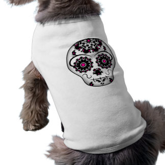Girly day of the dead sugar skull dog shirt