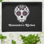 Girly day of the dead sugar skull kitchen towel