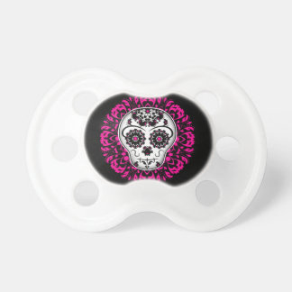 Girly day of the dead sugar skull pacifier