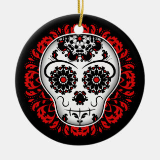 Girly day of the dead sugar skull red and black round ceramic ornament