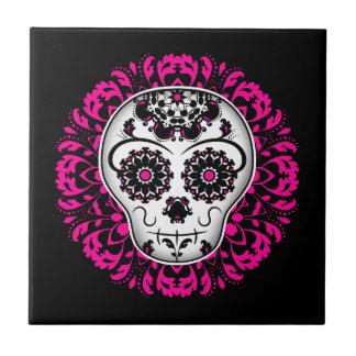 Girly day of the dead sugar skull tile