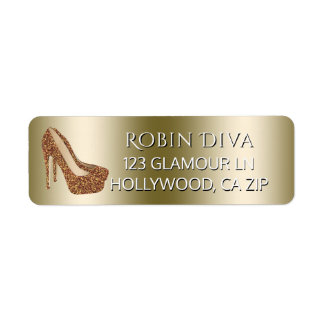 Girly Diva High Heel Shoes | Glam Gold Glitter Return Address Label