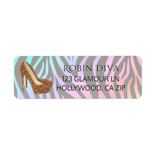 Girly Diva Rainbow Zebra Gold Glam High Heel Shoes Return Address Label
