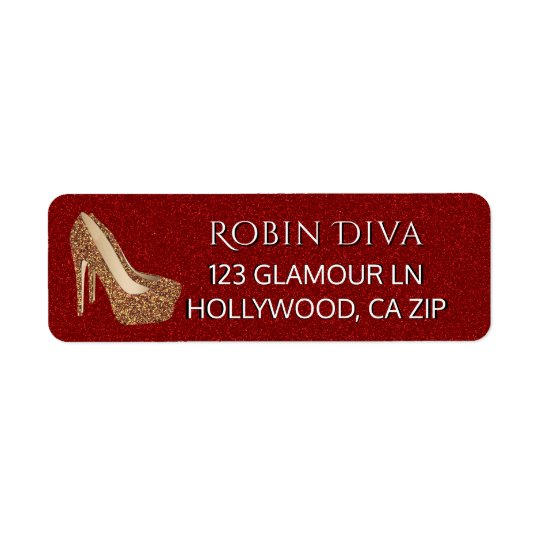 Girly Diva Red Glitter | Glam Gold High Heel Shoes