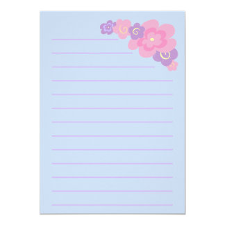"""Girly Doodle Bouquet Stationery (Thick) 5"""" X 7"""" Invitation Card"""