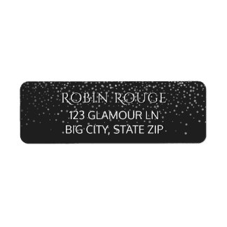 Girly Dots | Faux Silver Foil Confetti Glitter Return Address Label
