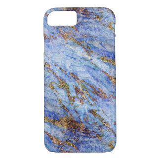 Girly Elegant Blue Gold Marble Blingy Chic iPhone 8/7 Case