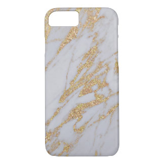 Girly Elegant Gold and White Marble Chic Trendy iPhone 8/7 Case