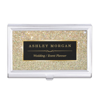 Girly Elegant Gold Glitter Sparkles Pattern Business Card Holder