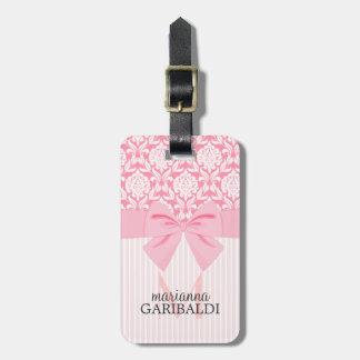 Girly Elegant Pink Damask Wrap Bow Personalized Luggage Tag