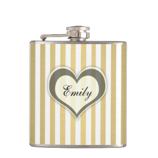 Girly elegant stripes golden heart personalized hip flask