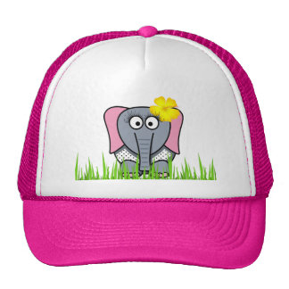 Girly Elephant In The Grass Trucker Hat