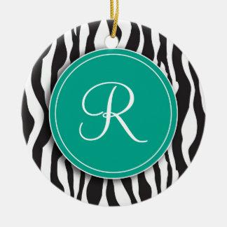 Girly Emerald Monogram Zebra Print Ornament