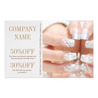 girly fashion beauty silver nail artist nail salon flyer