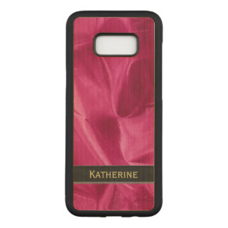 : Girly Faux Fuchsia Lame' Metallic Carved Samsung Galaxy S8+ Case
