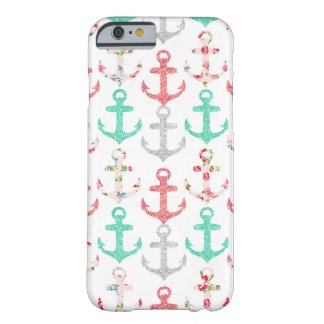 Girly Faux Glitter Floral Nautical Anchors Barely There iPhone 6 Case