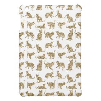 Girly Faux Glitter Gold Cats White iPad Mini Case