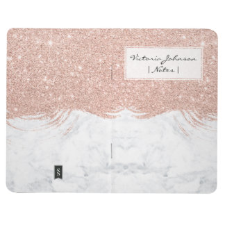 Girly faux glitter rose gold brushstrokes marble journal