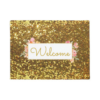 girly faux gold glitter welcome doormat
