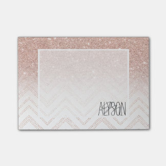 Girly faux rose gold glitter ombre modern chevron post-it notes