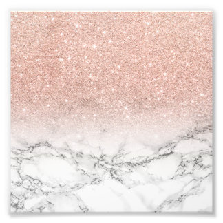 Girly faux rose pink glitter ombre white marble photo print