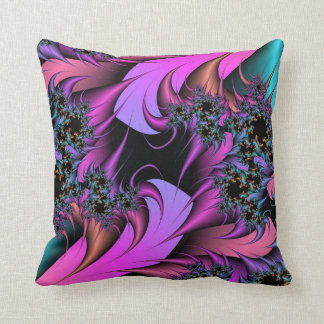 Girly Feathers Fractals Throw Pillow