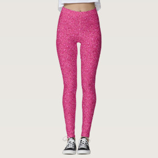 Girly Feminine Pink Confetti Dots Pattern Glitter Leggings