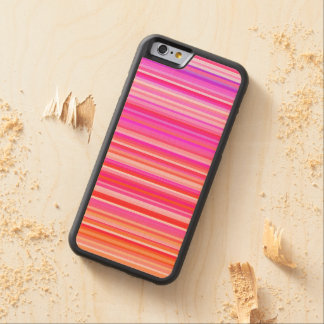 girly fine pink stripes carved maple iPhone 6 bumper case