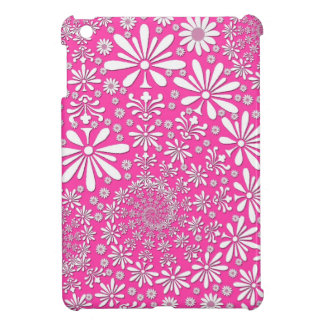 Girly Floral Art Pattern Pink and White iPad Mini Covers