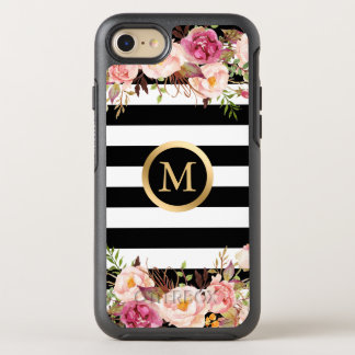 Girly Floral Black White Stripes Gold Initial Name OtterBox Symmetry iPhone 7 Case