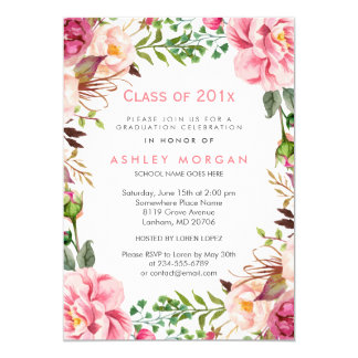 Girly Floral Chic Class of 2017 Graduation Party Card