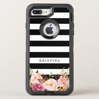 Girly Floral Decor | Classic Black White Stripes OtterBox Defender iPhone 8 Plus/7 Plus Case