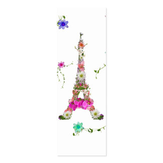 Girly Floral French Eiffel Tower Bright Flowers Pack Of Skinny Business Cards