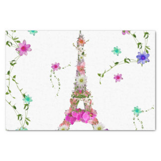 Girly Floral French Eiffel Tower Bright Flowers Tissue Paper