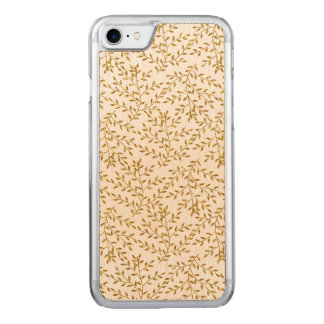 Girly Floral Gold Glitter Photo Print Carved iPhone 7 Case