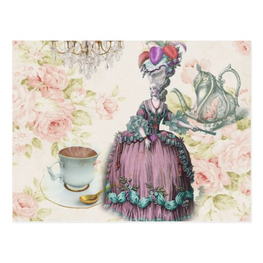 Girly floral Marie Antoinette Paris tea party Post Cards