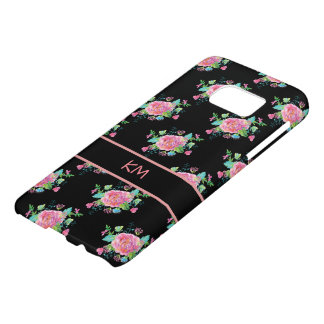 Girly Floral Monogram Style Samsung Galaxy S7 Case