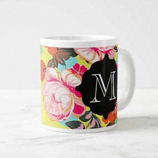 Girly Floral Paisley Monogram Giant Mug