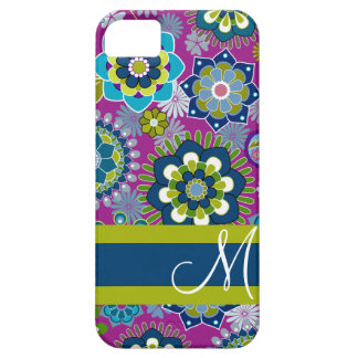 Girly Floral Pattern with Monogram iPhone 5 Case