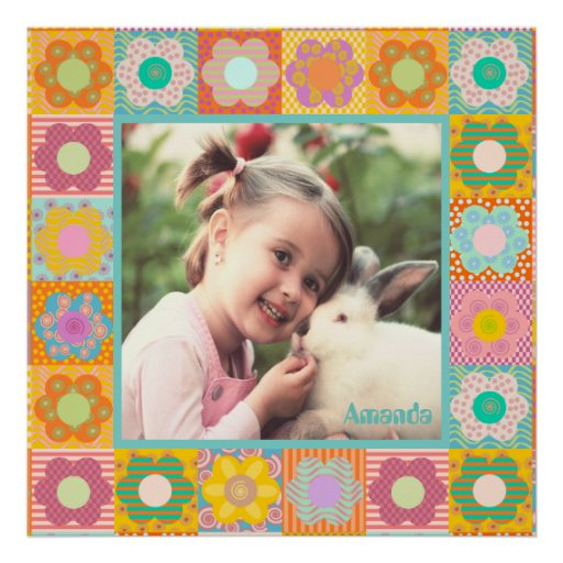 Girly floral photo frame poster