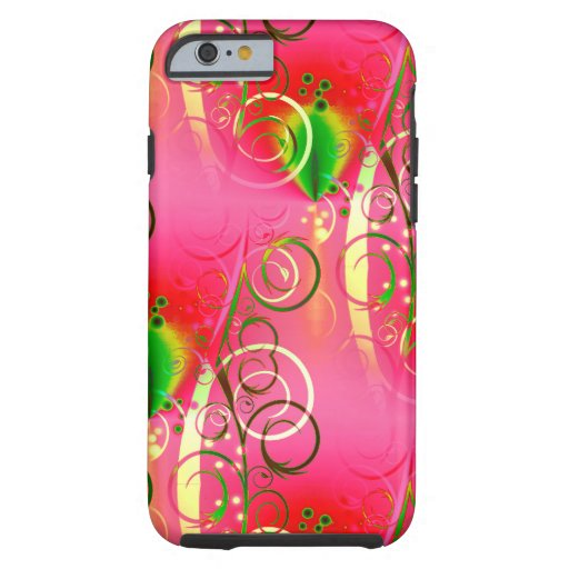Girly Floral Swirl Hot Pink Green Gifts for Her iPhone 6 Case