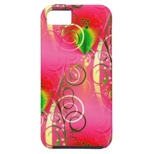 Girly Floral Swirl Hot Pink Green Gifts for Her iPhone 5 Cover