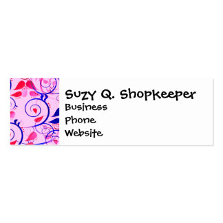 Girly Floral Swirls Flourish Blue Red on Pink Business Card Templates